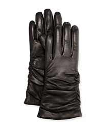 Grandoe Ruched Leather Tech Gloves Black