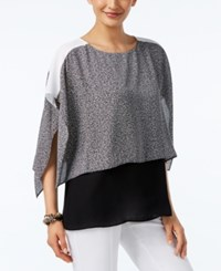 Alfani Petite Layered Look Colorblocked Blouse Only At Macy's Jaspe Noise Black White