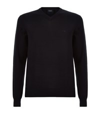 Armani Jeans V Neck Cotton Sweater Male Navy