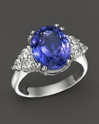 Bloomingdale's Tanzanite And Diamond Statement Ring In 14K White Gold Blue White