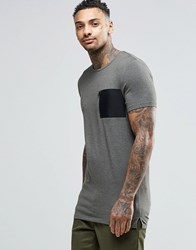 Asos Longline Muscle T Shirt With Military Pocket In Khaki Rifle Green