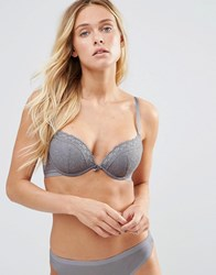 New Look Lace Push Up Bra Mid Grey