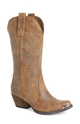Women's Very Volatile 'Railroad' Western Boot Tan Faux Leather