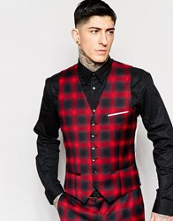 Heart And Dagger Ombre Check Waistcoat In Super Skinny Fit Red