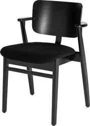 Artek Domus Black Birch Chair With Upholstered Seat
