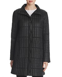 Eileen Fisher Stand Collar Quilted Coat Black