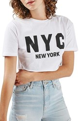 Topshop Petite Women's New York Graphic Crop Top White Multi