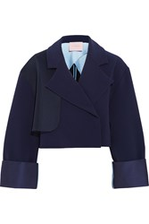 Roksanda Ilincic Exley Mesh Trimmed Stretch Crepe Jacket Blue