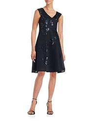 Teri Jon Sequined Mesh Fit And Flare Dress Navy