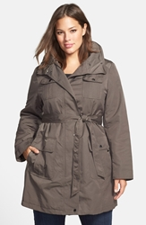 Techno Trench Raincoat Plus Size Olive