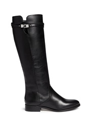 Jimmy Choo 'Hysan' Buckle Leather Knee High Boots Black
