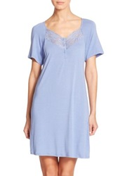 La Perla Margherita Lace Trimmed Nightgown Light Blue