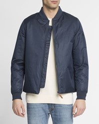 Knowledge Cotton Apparel Blue Waterproof Zip Up Functional Bomber Jacket