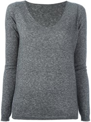 Roberto Collina V Neck Jumpers Grey