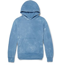 Remi Relief Tie Dyed Cotton Jersey Hoodie Blue