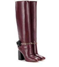 Tory Burch Blossom Embellished Leather Knee High Boots Red