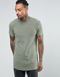 Asos Longline Muscle T Shirt In Waffle Fabric With Bleach Wash In Khaki Khaki Green