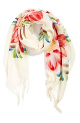Women's La Fiorentina Floral Wool Scarf Coral Coral Combo