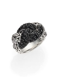 John Hardy Classic Chain Sapphire And Sterling Silver Braided Ring Black Sapphire