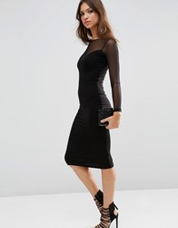 Asos Plunge Bodycon Midi Dress With Contrast Mesh Black