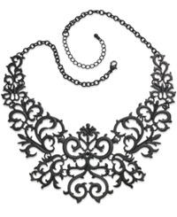 Bar Iii Necklace Jet Tone Lace Bib Necklace