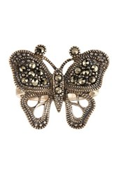Savvy Cie Sterling Silver Marcasite Butterfly Ring Metallic