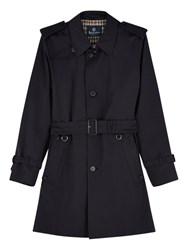 Aquascutum London Corby Single Breasted Trench Coat Navy