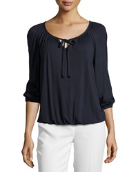 Joan Vass Pleated 3 4 Sleeve Keyhole Tee Dark Royal Navy