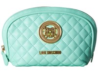 Love Moschino Quilted Makeup Bag Mint Handbags Green