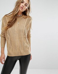 Pull And Bear Pullandbear Mixed Cable Knit Jumper Camel Brown