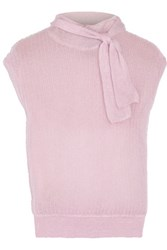 Giambattista Valli Bow Embellished Mohair Blend And Silk Sweater Baby Pink