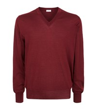 Brioni V Neck Cashmere Blend Sweater Male Red