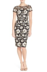 Women's David Meister Embroidered Mesh Sheath Dress