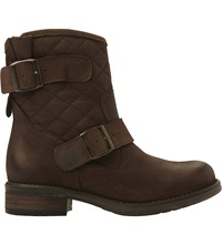Steve Madden Denmark Quilted Leather Ankle Boots Brown Leather