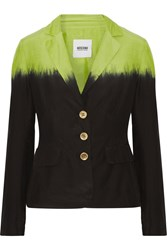 Moschino Cheap And Chic Two Tone Cotton And Silk Blend Blazer Black
