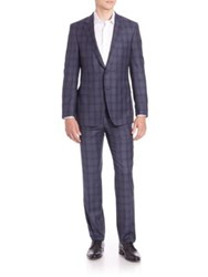 Saks Fifth Avenue Wool Windowpane Suit Navy