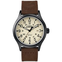 Timex Expedition Scout Watch Natural And Brown Leather