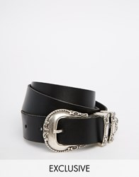 Retro Luxe London Leather Western Belt With Double Keeper Black