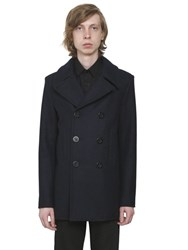 Saint Laurent Double Breasted Duffle Wool Peacoat
