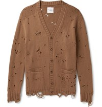 Takahiromiyashita Thesoloist Oversized Distressed Wool And Cashmere Blend Cardigan Camel