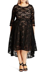 City Chic Plus Size Women's 'Lace Lover' High Low Midi Dress