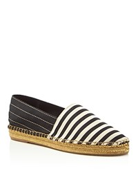 Marc Jacobs Sienna Striped Espadrille Flats Black White