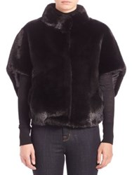 Michael Kors Cropped Mink Fur Cape Jacket Black
