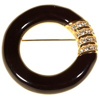 Alice Joseph Vintage 1980S Swarovski Gold Plated Enamel And Diamante Brooch Black Gold