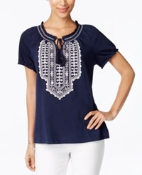 Jm Collection Embroidered Short Sleeve Peasant Top Only At Macy's Intrepid Blue