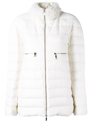 Moncler Gamme Rouge High Neck Zipped Jacket White