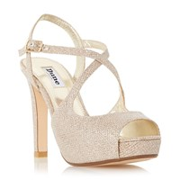 Dune Merry Peep Toe High Heel Sandals Gold