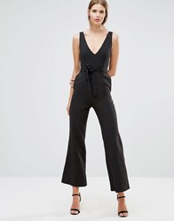 Oh My Love Jumpsuit With Tie Wrap Black