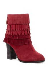 Catherine Malandrino Domenica Fringe Trim Bootie Red