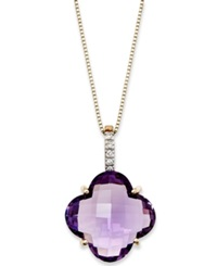Macy's 14K Gold Necklace Amethyst 8 Ct. T.W. And Diamond Accent Pendant